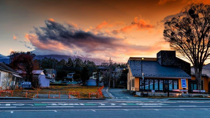 Yamanaka city with Mt. Fuji at dusk royalty free stock photography