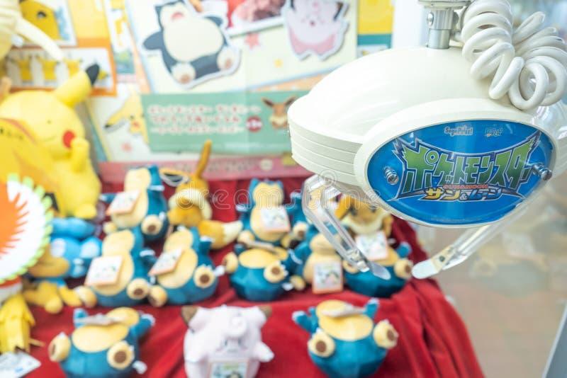 Yamanashi, Japan - 22. März 2019: Ansicht der japanischen Greifermaschine mit Zeichentrickfilm-Figur Snorlax Pokemon an Mt Fuji-S stockbilder