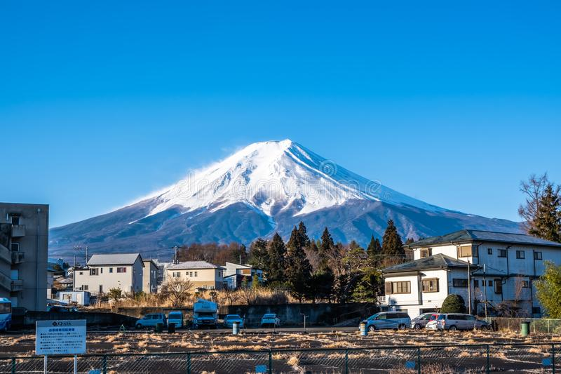 Yamanashi, Japan - March 24, 2019 : View of Mount Fuji, commonly called Fuji san in Japanese, Mount Fuji`s exceptionally. Symmetrical cone, from Mt. Fuji stock image