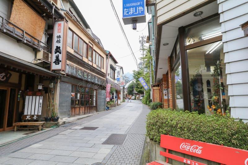 YAMANOUCHI, JAPAN - September 17, 2016:Yamanouchi village view,Yudanaka Onsen. YAMANOUCHI, JAPAN - September 17, 2016:Yamanouchi village view,Yudanaka Onsen has royalty free stock image