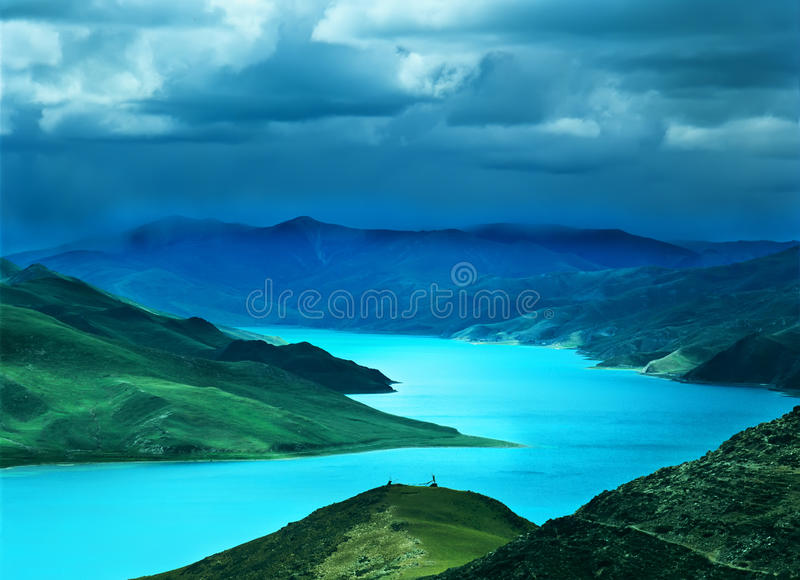 Download Yamdrok  lake in tibet stock image. Image of china, background - 20559443