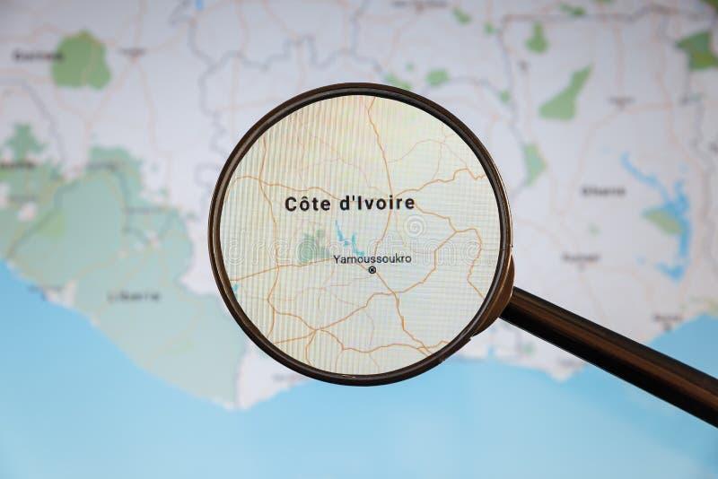 Yamoussoukro skjul D 'Ivoire e-?versikt politisk u royaltyfri foto