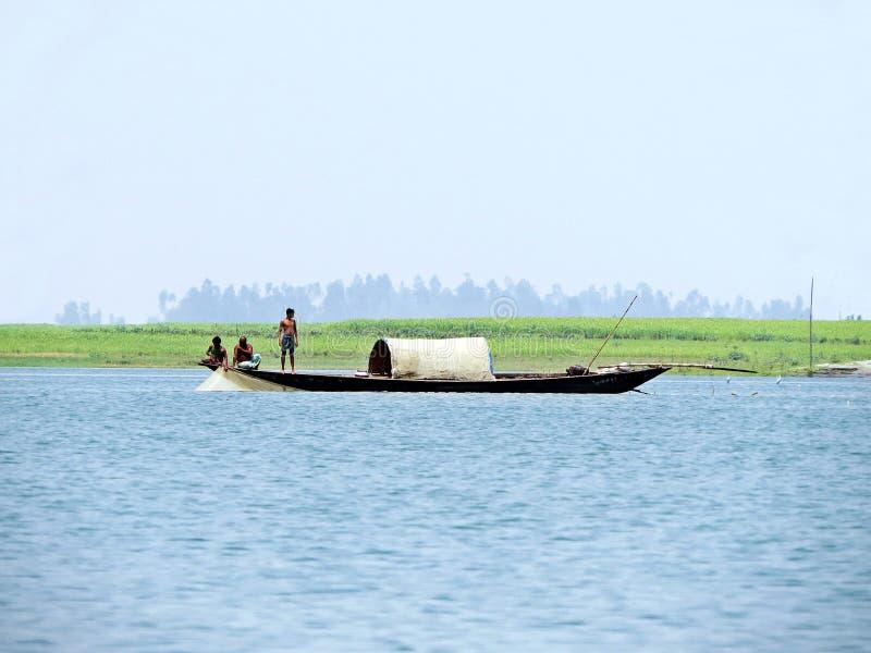 Yamuna flod, Brahmaputra River, Bogra, Bangladesh royaltyfri fotografi