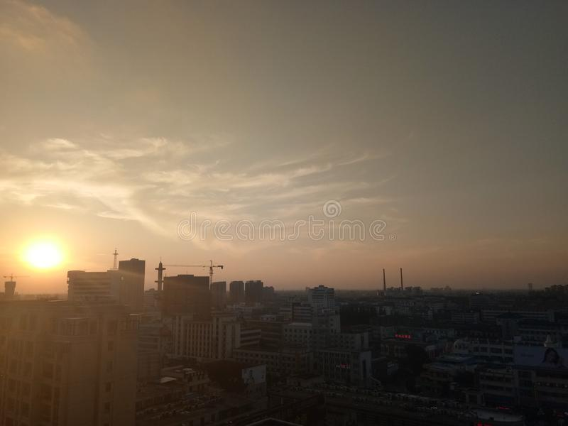 Yancheng, China. China city sunset royalty free stock images