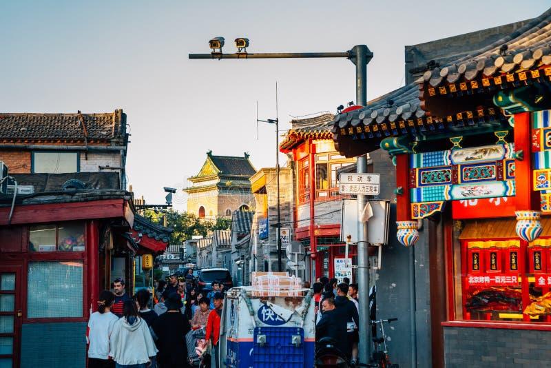 Yandai Byway, kinesisk gammal gata Hutong på Shichahai i Peking, Kina fotografering för bildbyråer