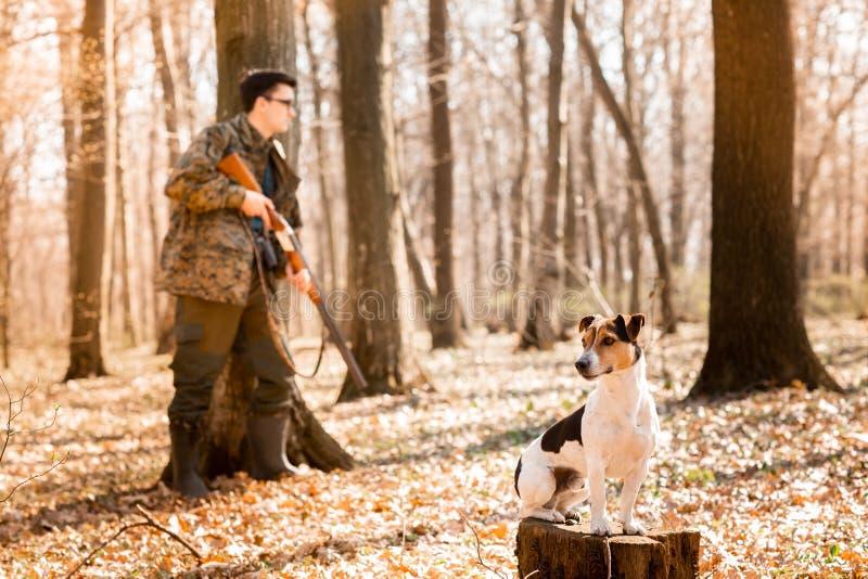 Охотник Yang с собакой на лесе стоковое изображение