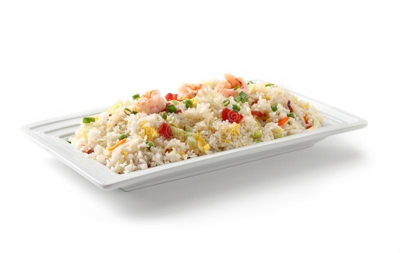 Fried rice on white background. Yang chow fried rice on white background stock photos