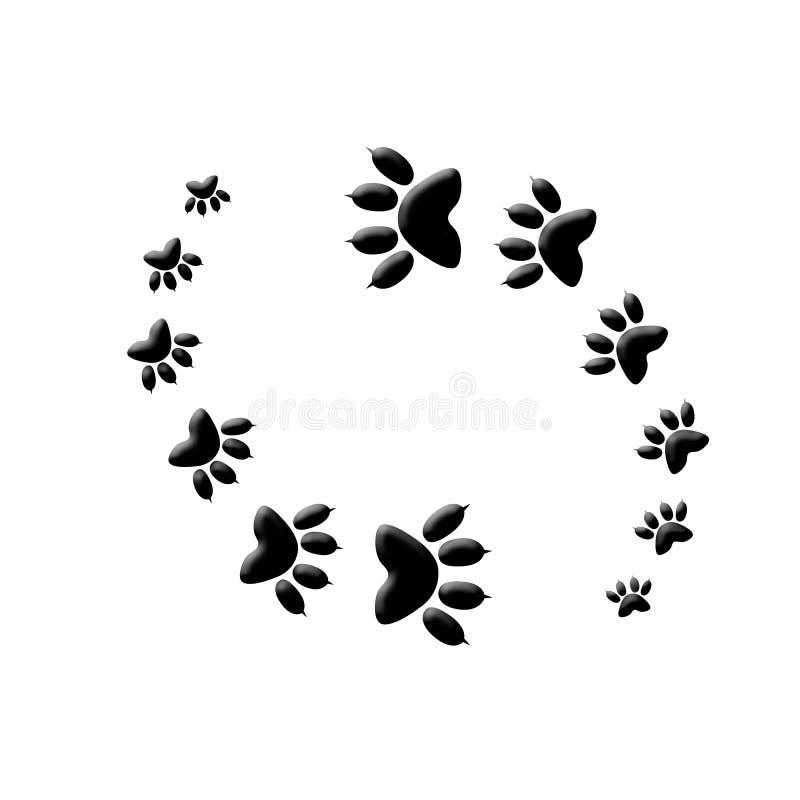Yang de yin d'impression de patte de chat images libres de droits