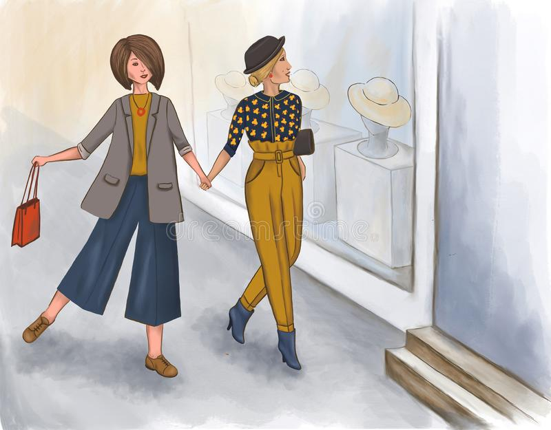Yang girlfriends are shopping in the summer stock illustration