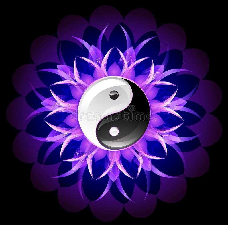 Yang lumineux de yin de lotus illustration libre de droits