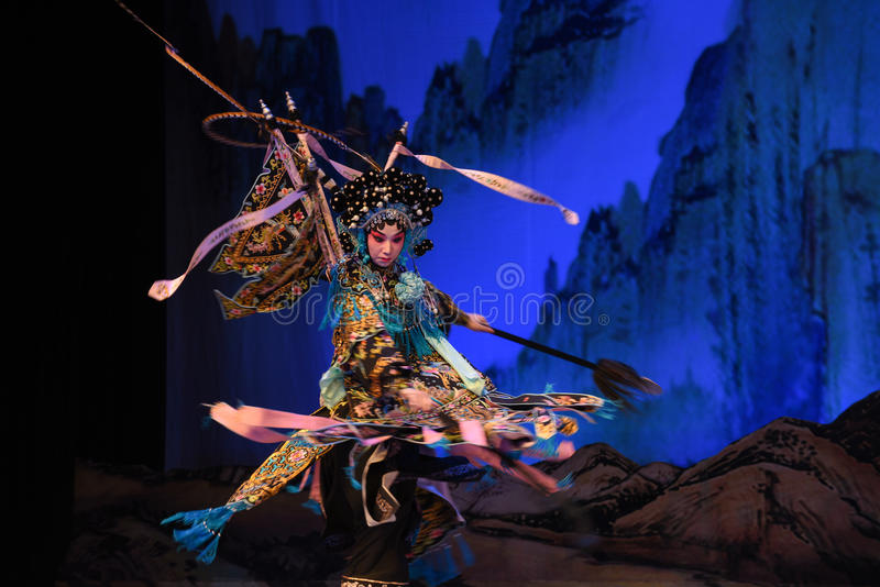 """The Yang Qiniang- Beijing Opera"""" Women Generals of Yang Family"""". This opera tells a patriotic story how does an old woman of a hundred years old go stock photography"""