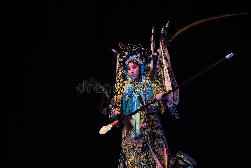 """Yang Qiniang- Beijing Opera"""" Women Generals of Yang Family"""". This opera tells a patriotic story how does an old woman of a hundred years old go out royalty free stock photography"""