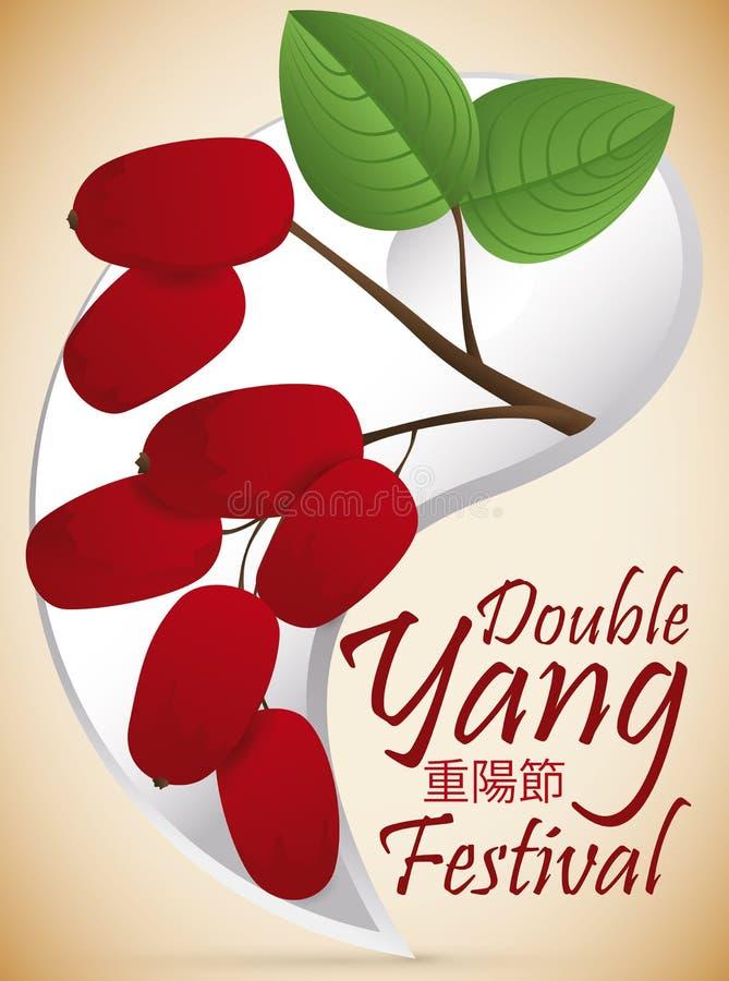 Yang Symbol en Kornoelje met Kersen voor Dubbel Yang Festival, Vectorillustratie stock illustratie