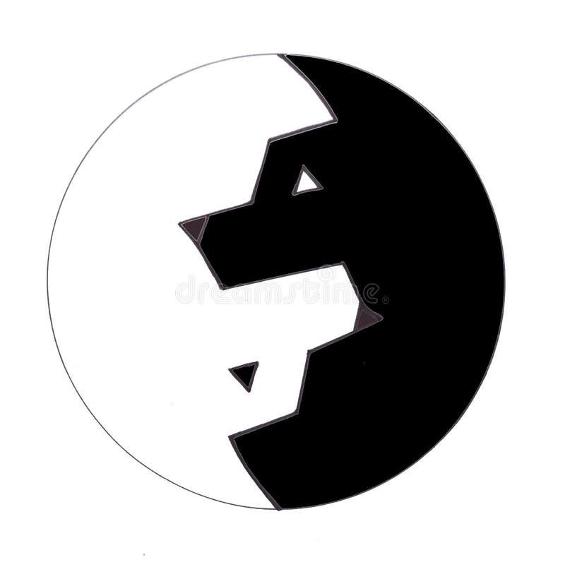 Yang symbol w postaci dwa wilków ilustracji