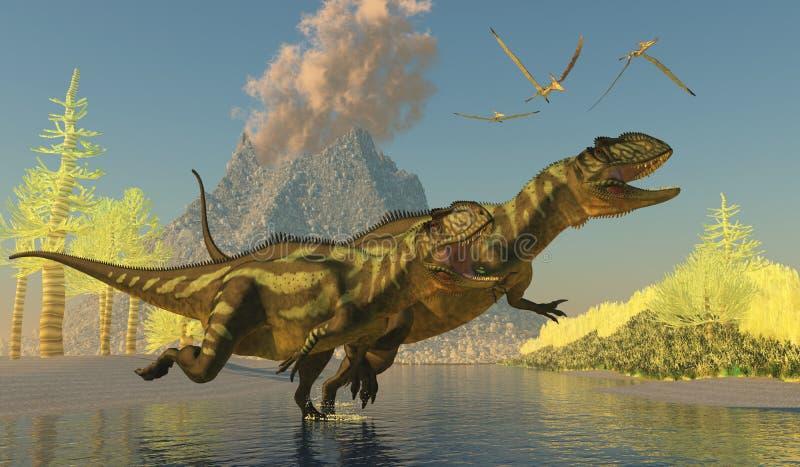 Yangchuanosaurus dinosaurier stock illustrationer