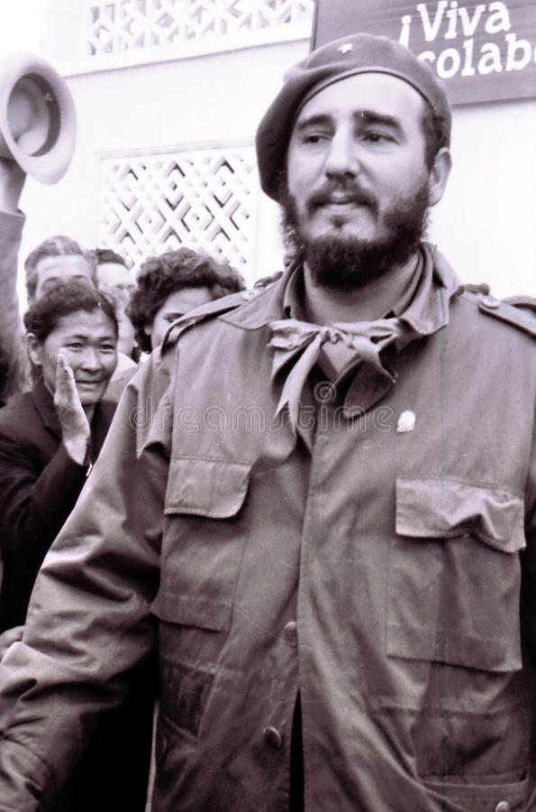 Yangiyer Fidel Castro May 1963. Fidel Castro in Yangiyer, Uzbekistan, May 10, 1963 royalty free stock images
