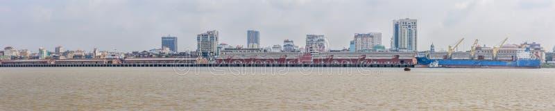 Panoramic view of harbour of Yangon, Myanmar, May-2017 stock photo