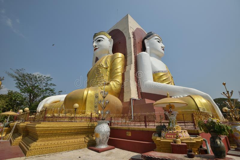 Yangon Kyaik Pon Pagoda Bago. Yangon Kyaikpun Pagoda Four Seated Buddha royalty free stock photography