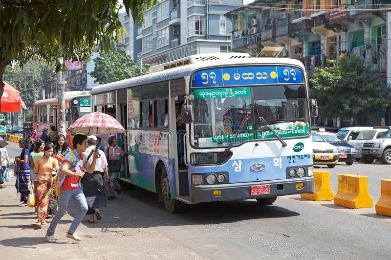 Yangon, Myanmar. Burmese bus along the street in Yangon, Myanmar. Yangon, also known as Rangoon, is a former capital of Myanmar and the capital of Yangon region stock photography