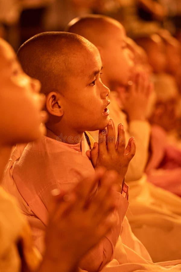 Young girls monks in Yangon, Myanmar stock photos