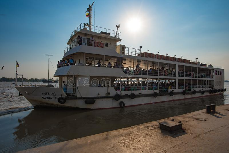 Public ferry to crossing Yangon river. Yangon, Myanmar - December 28, 2016: Public transportation to crossing Yangon river by large ferry in greater Yangon royalty free stock photography