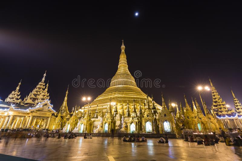 YANGON, MYANMAR, December 25, 2017: Shwedagon Pagoda in Yangon at night royalty free stock photos