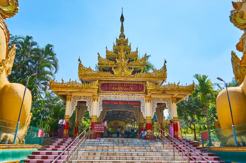 The entrance gate of Ngar Htat Gyi Buddha Temple, Yangon, Myanmar stock photography