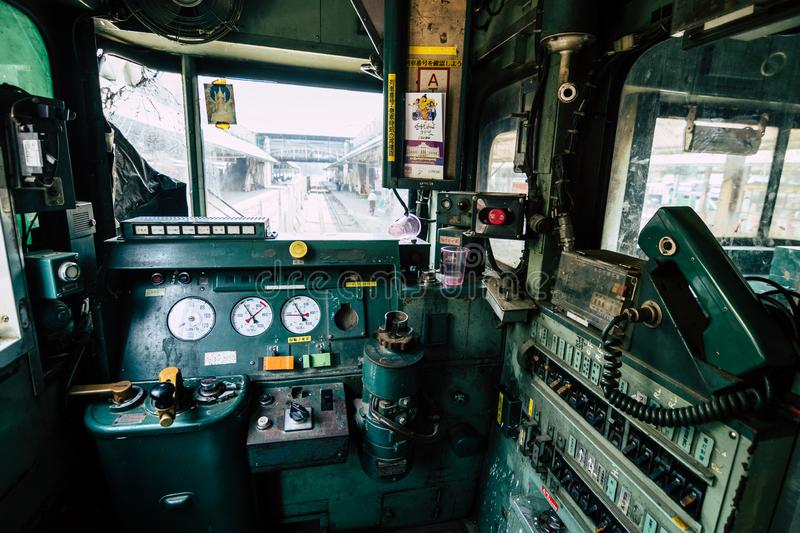 Yangon, Myanmar - March 2019: view from retro train driver seat royalty free stock images