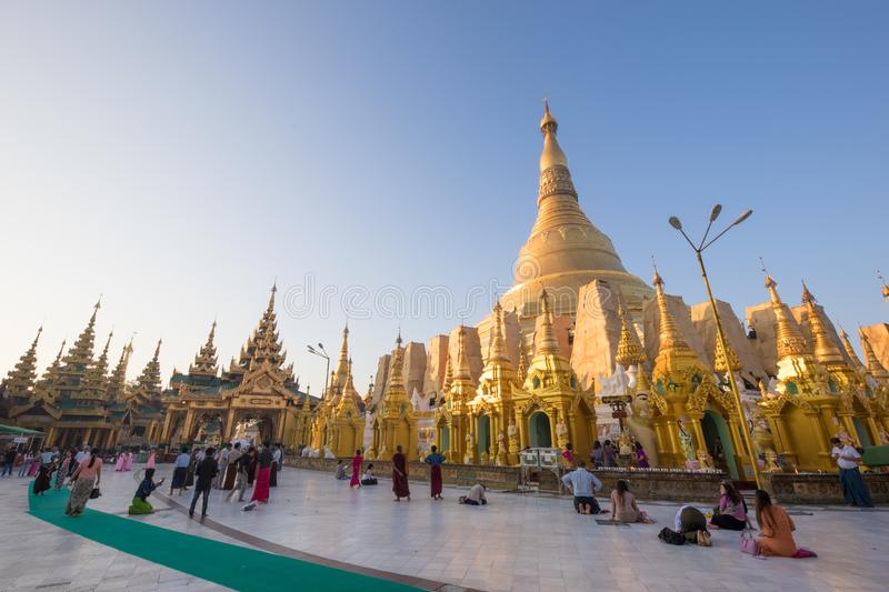 Shwe Dagon Pagoda, Yangon, Myanmar. YANGON/MYANMAR - 9th Aug, 2019 : Shwe Dagon Pagoda, Yangon, Myanmar royalty free stock photos