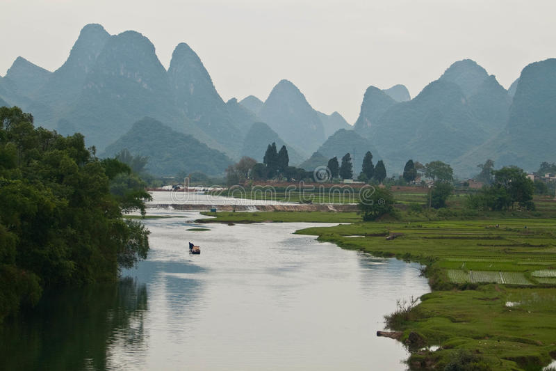 Yangshuo. Beautiful Karst mountain landscape in Yangshuo, China royalty free stock images
