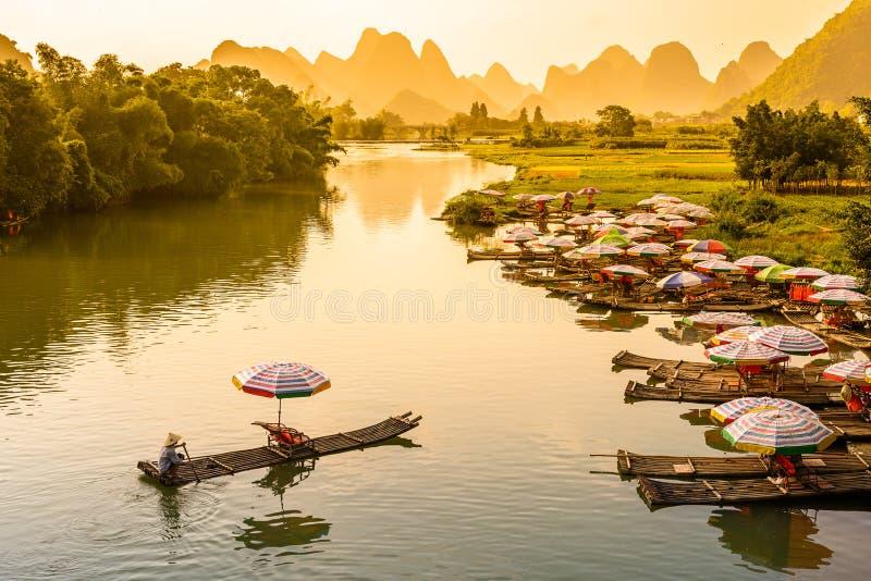 Yangshuo China River Scene. Yangshuo, China on the Li River stock photos
