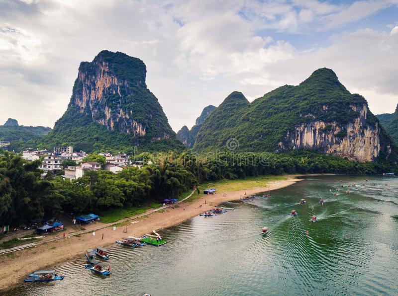 Yangshuo county and Li river in Guilin, aerial view royalty free stock photos