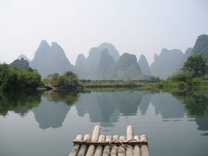 Yangshuo Guilin. A view from a boat on karst rocks in yangshuo near guilin in china stock images
