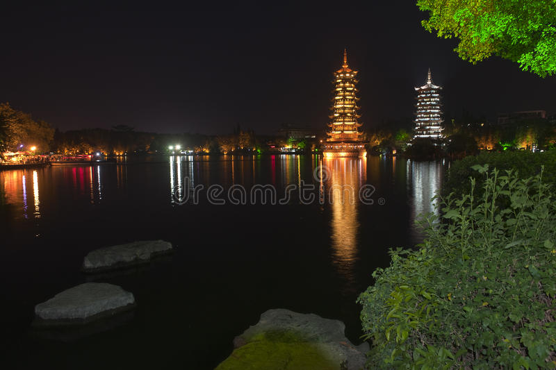 Yangshuo nightscape. Was taken in yangshuo of china,the city with mountain royalty free stock photos