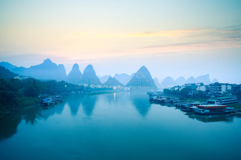 Yangshuo scenery in dawn. Tranquil landscape in guilin,China royalty free stock images