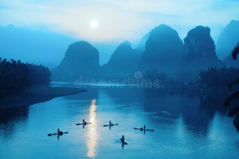 Yangshuo scenery in sunrise. Beautiful yangshuo scenery in sunrise,China royalty free stock photo