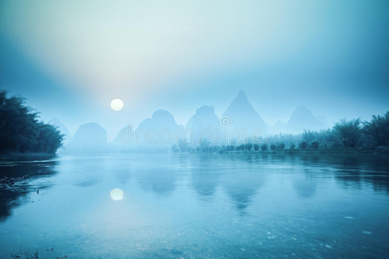 Yangshuo scenery in sunrise royalty free stock images