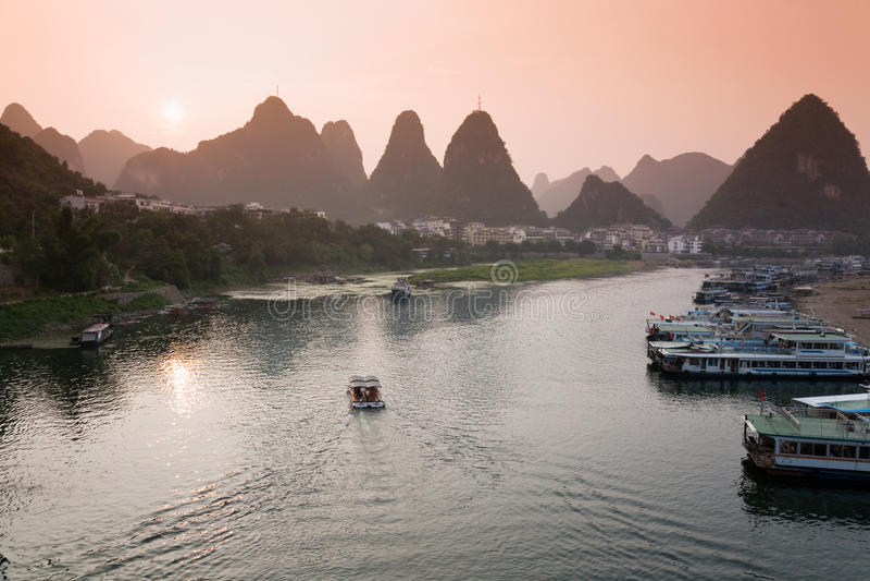 Yangshuo sunset. Li river of Yangshuo at sunset, Guangxi region, China royalty free stock photos