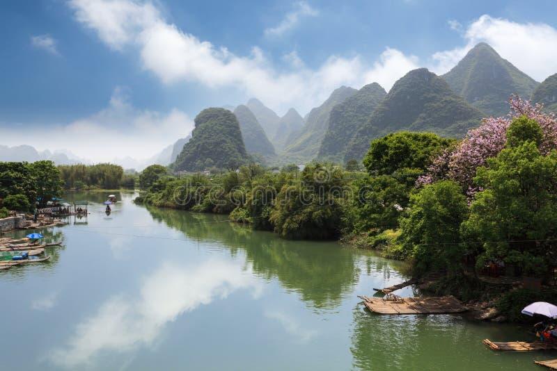 Yangshuo yulong river. Rural scenery in yangshuo yulong river royalty free stock photography
