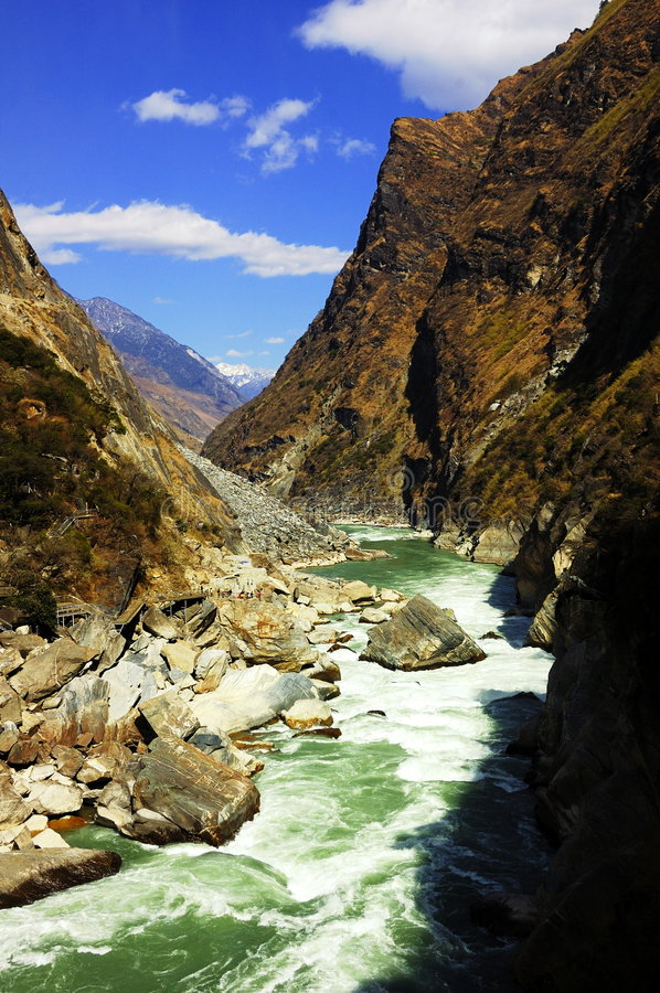 Yangtze River canyon. In the Yangtze River upstream, is the rapids river water and the deep canyon stock photo