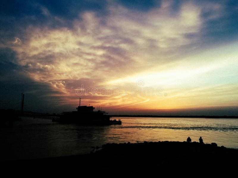 Beautiful Sunset over the Yangtze River. The Yangtze River or Chang Jiang is the longest river in Asia and China, and the third-longest in the world, after the royalty free stock images