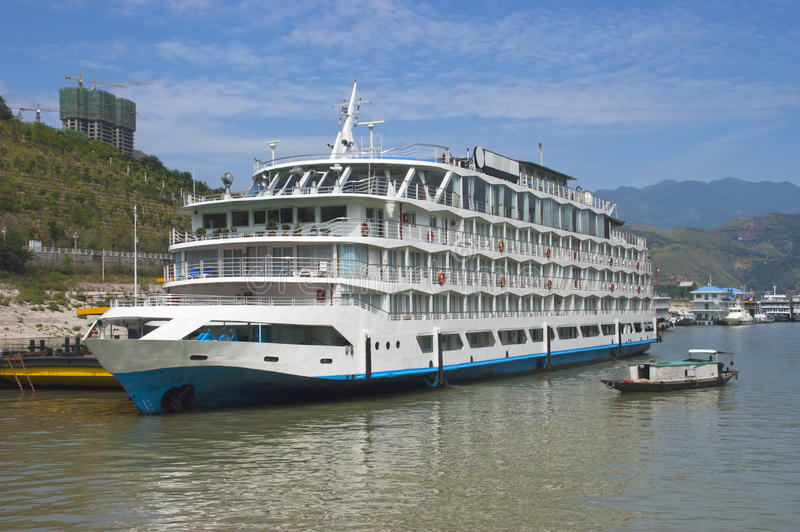 Yangtze River China River Boat Cruise Ship, Travel. Typical Chinese cruise ship seen on the Yangtze River in China. Many tourists on vacation or holiday like to stock photo