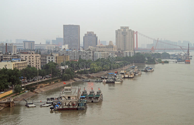 Yangtze river and dock in Wuhan. China royalty free stock images