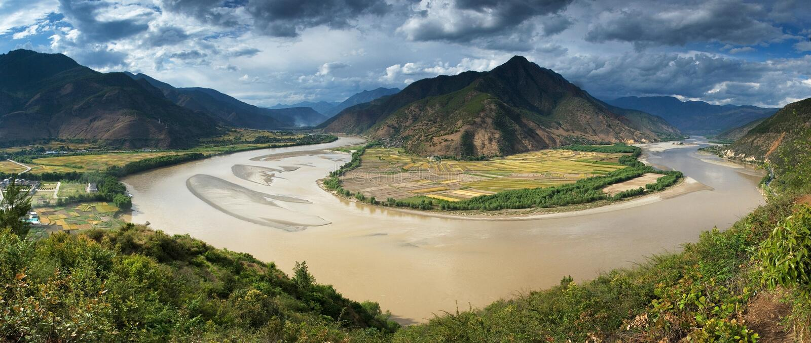 Yangtze River, First Turn, Panorama royalty free stock photo
