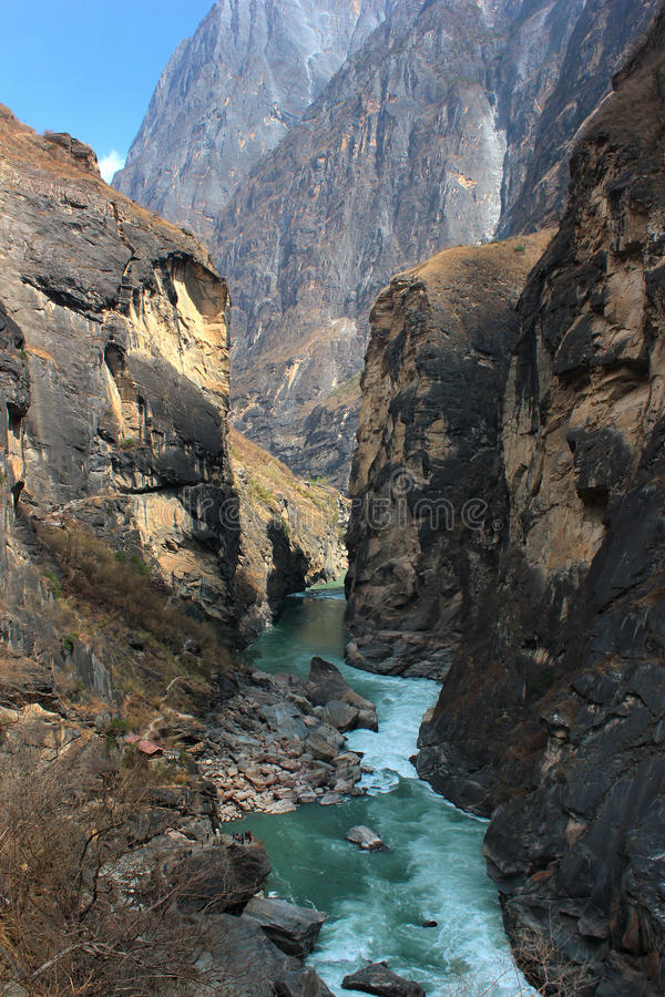 Yangtze river in the most narrow part of Tiger Leaping Gorge. Yunnan, China royalty free stock image