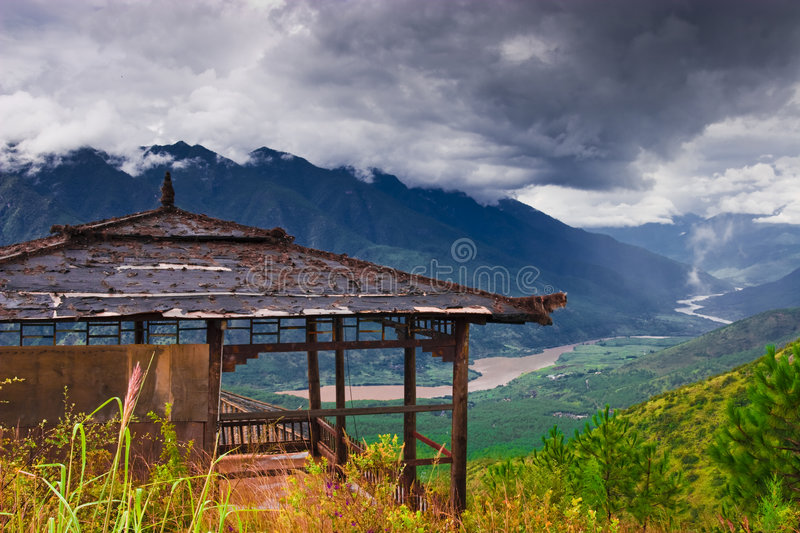 The Yangtze River and pavilion. This is the pavilion,here you can watch the Yangtze River royalty free stock photos