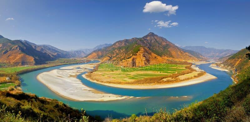 Yangtze river scenic. Scenic view of first turn of Yangtze river, Shigu, Yunnan province, China royalty free stock photo