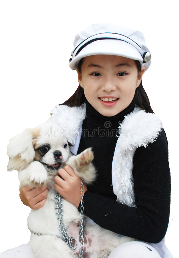 Yangxi An Beautiful girl From China. My name is Yang Xi, I from China. I was a pretty cute little girl. I'm 11 years old this year。I like dog stock photos