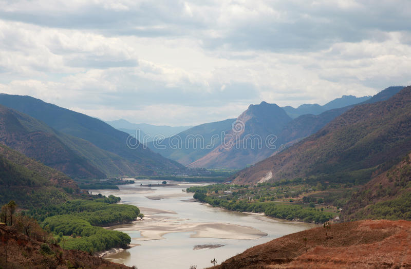 Yangzi river first bend in China. Yangzi river first bend in Yunnan, China royalty free stock photography