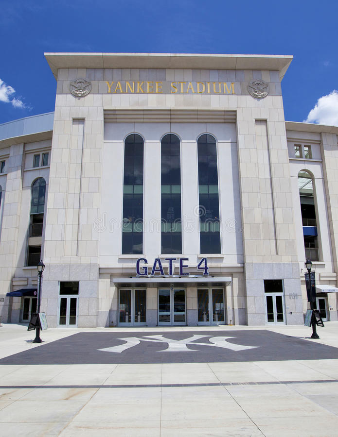 Yankee Stadium. BRONX, NEW YORK - JUNE 26: The famous Yankee Stadium sports building entrance on June 26th, 2012 in the Bronx, New York stock photography